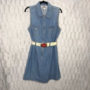 Vintage Denim Zipper Sleeveless Jean Shirt Dress
